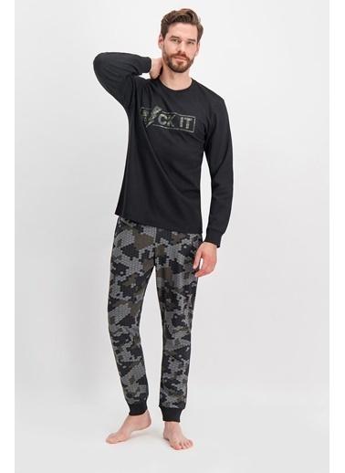 Arnetta Arnetta Rock It Kamuflaj Siyah Erkek Pijama Takımı Siyah